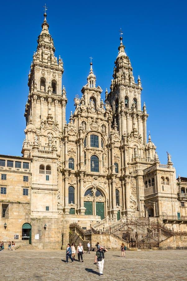 Glory Portal de la catedral Saint James en Santiago de Compstela - Sapin imágenes de archivo libres de regalías