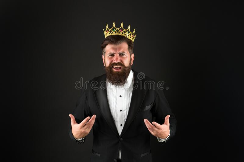 Glory seeking man. Power and triumph. Business king. Businessman wear crown. Business success concept. King of style. Best man on Earth. Achieving business royalty free stock image