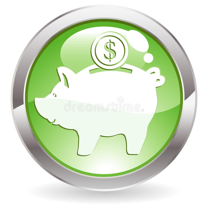 Download Gloss Button With Piggy Bank Stock Vector - Illustration: 14381133