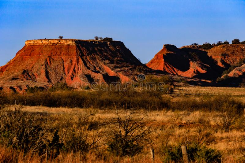 Gloss Mountain. View of the buttes at Gloss Mountains State Park in Oklahoma royalty free stock image
