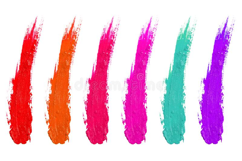 Gloss powder cream brush stroke paint draw lipstick makeup fashion beauty color swatch set collection on white. Background royalty free stock photos