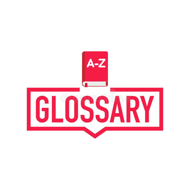 Glossary. Label with book icon. Flat vector illustration on white background. royalty free illustration
