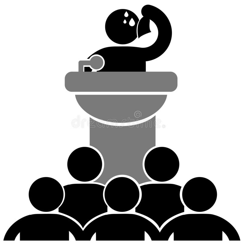 Glossophobia. Man suffering from the fear of of public speaking. Vector illustration. Isolated. Logo, icon. vector illustration