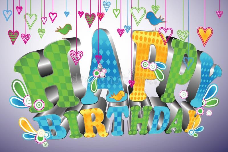 Glossy 3d type: Happy Birthday royalty free illustration