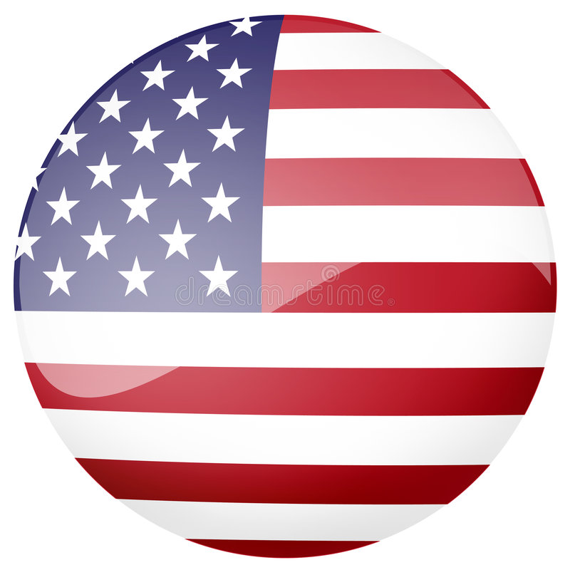 Glossy American flag button stock illustration