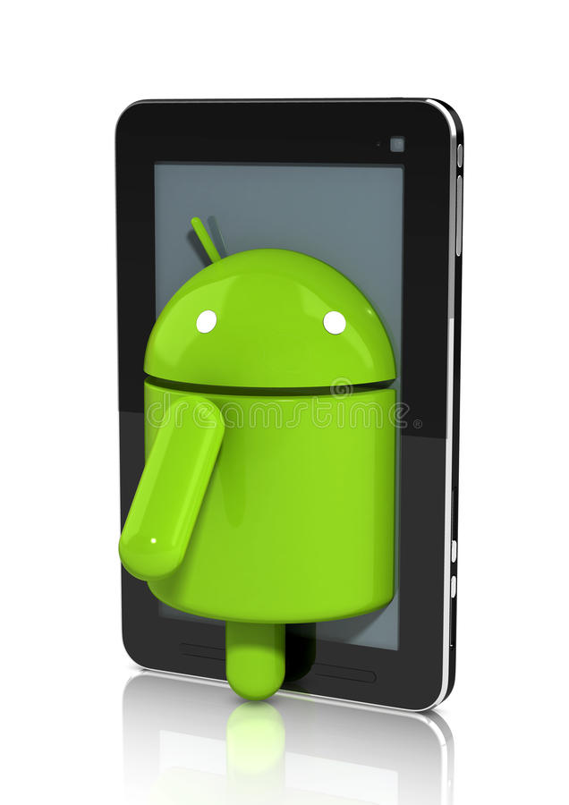 Glossy Android character climbing out of a Tablet stock illustration