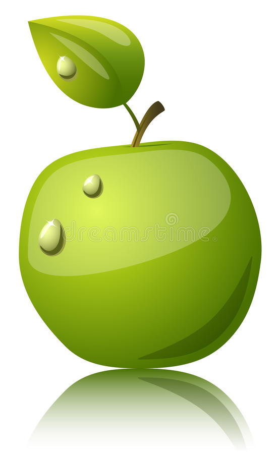 Glossy apple. Green apple glossy icon with water drops isolated on white background vector illustration