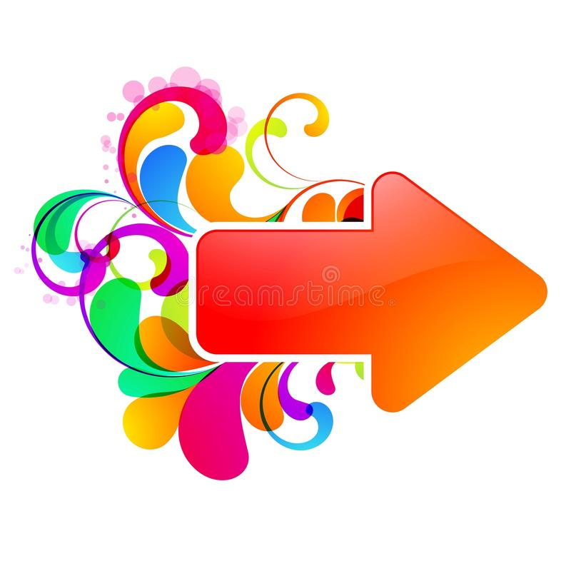 Glossy_arrow_design. Red arrow decorated with colorful graphic vector illustration