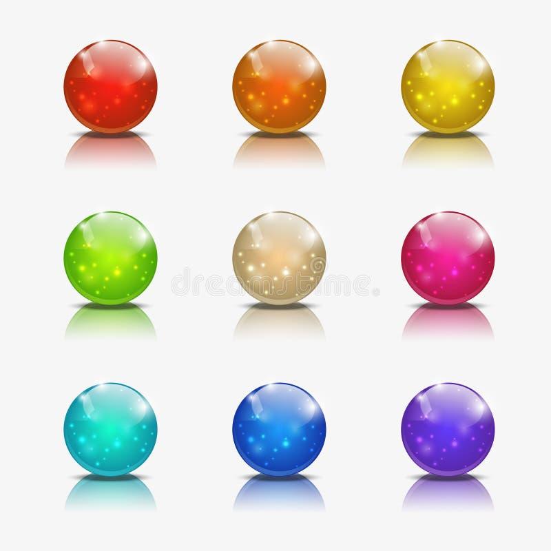 Glossy ball icons. Set of glossy ball icons royalty free illustration