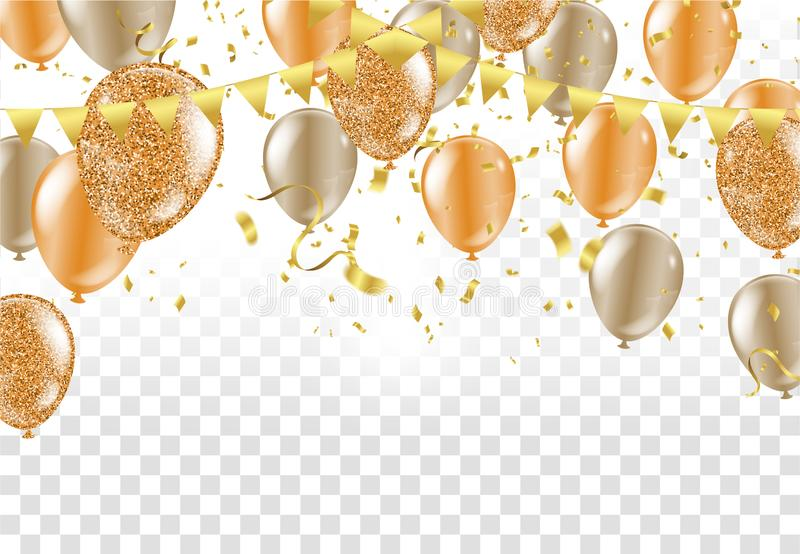 Glossy balloons. Golden colors Decorative elements for party invitation design with copy space. Vector illustration vector illustration