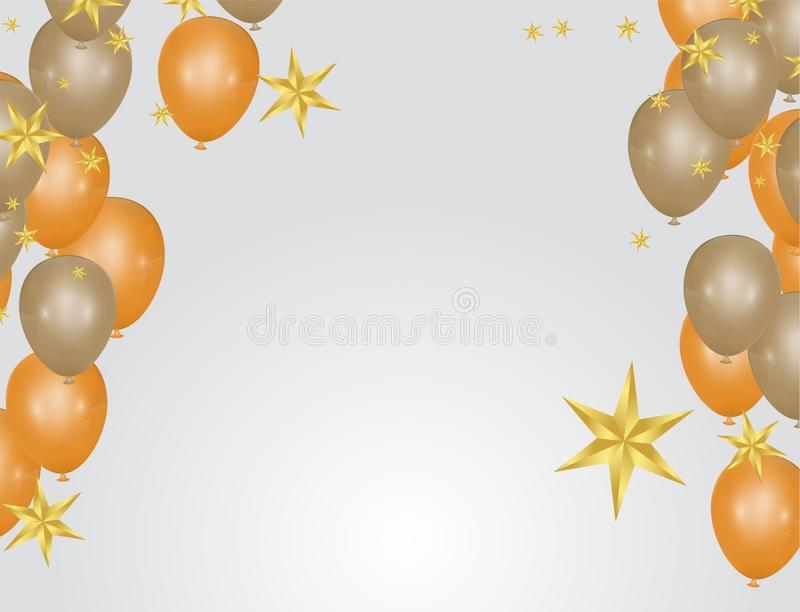 Glossy balloons. Golden colors Decorative elements for party invitation design with copy space. Vector illustration stock illustration