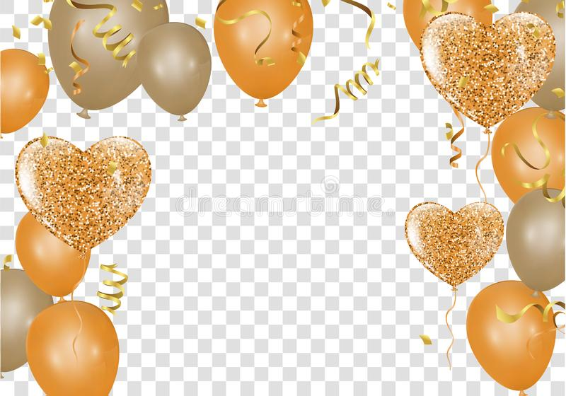 Glossy balloons. Golden colors Decorative elements for party invitation design with copy space. Vector illustration royalty free illustration