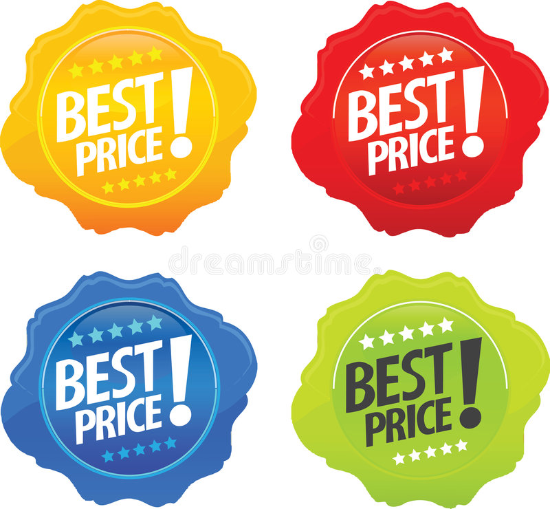 Glossy Best Price Icons vector illustration