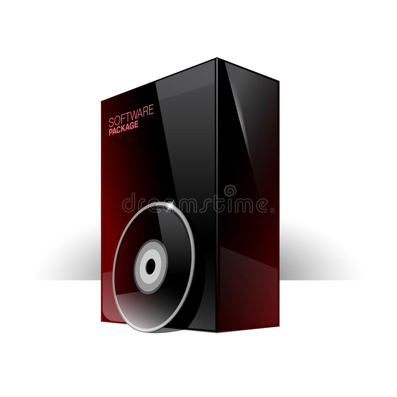 Glossy black box with red reflexes. And dvd or cd Disk. eps 10 stock illustration