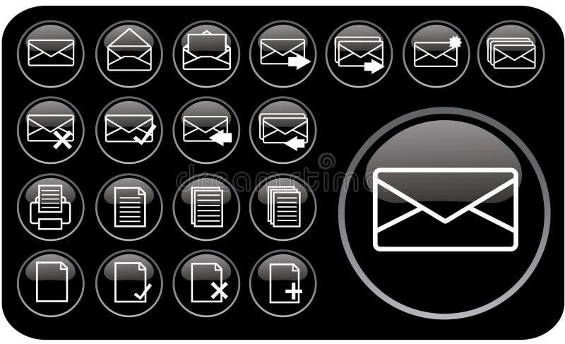Glossy black icons part1 royalty free illustration