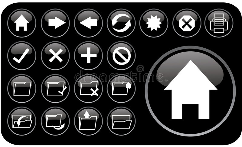 Glossy black icons part2 vector illustration