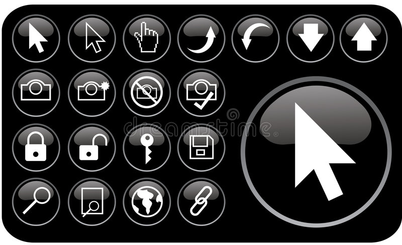 Glossy black icons part3 royalty free illustration