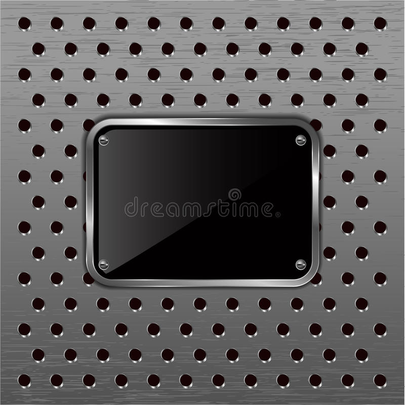 Download Glossy Black Plate On A Metallic Perforated Backgr Stock Photo - Image: 25960932