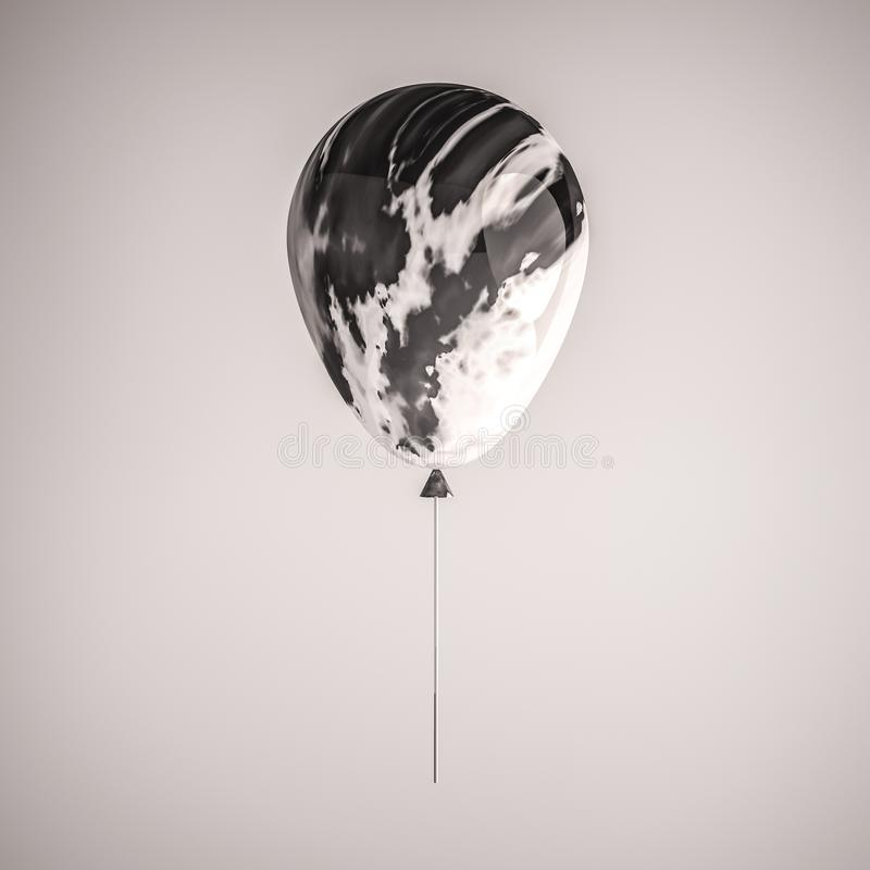 Glossy black and white marble 3D realistic balloon on the stick for party, events, presentation or other promotion banner, posters vector illustration