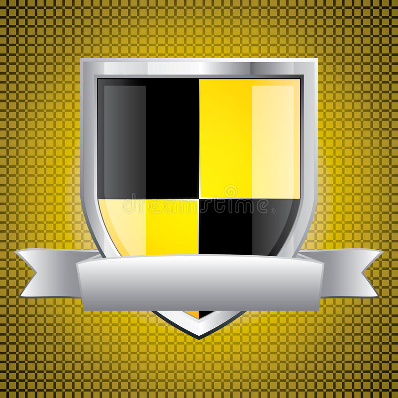 Glossy black and yellow shield stock illustration
