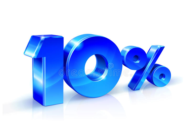 Glossy blue 10 Ten percent off, sale. Isolated on white background, 3D object. stock illustration