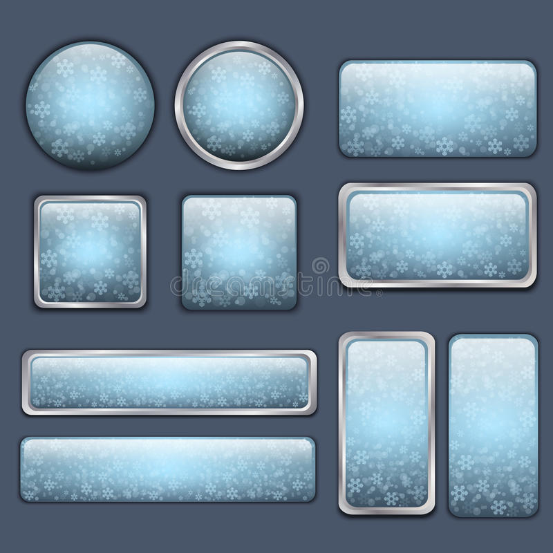 Glossy Blue Winter Buttons Stock Photos
