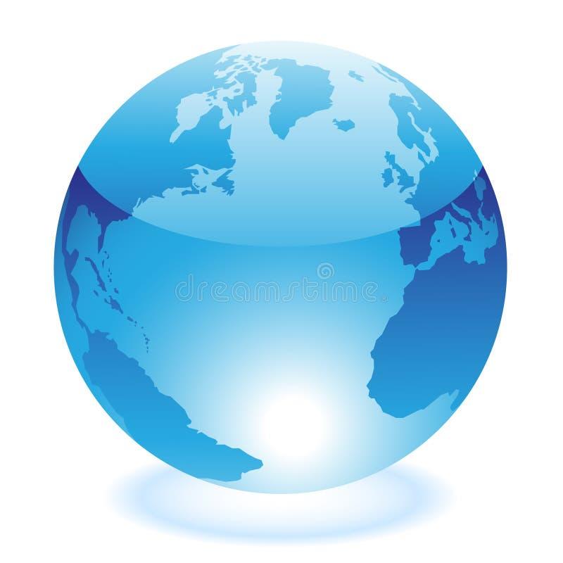 Glossy blue world vector illustration
