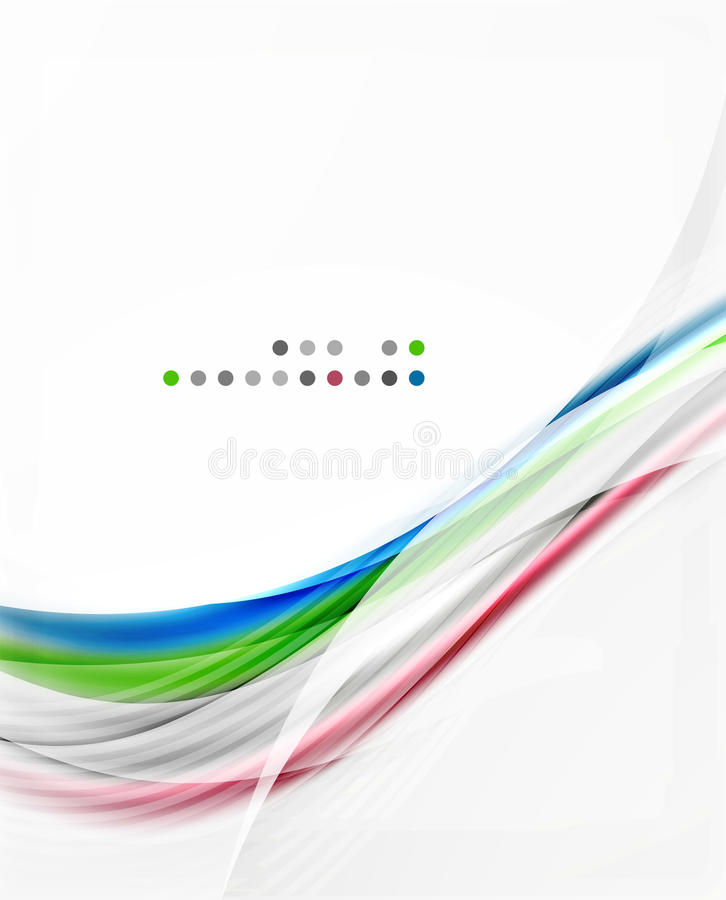 Glossy blurred shiny wave lines, colorful stripes. Modern business presentation or message background royalty free illustration