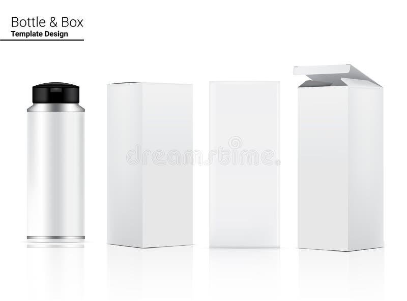 Glossy Bottle Mock Realista Cosmético e Caixa Dimensional para Produtos Anti-Rugas em Branco, Skincare e Envelhecimento ilustração royalty free