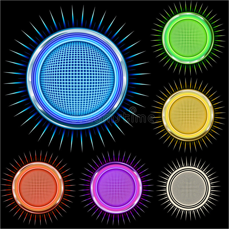 Free Glossy Bright Chrome Star Circle In Colors Stock Photography - 15056912