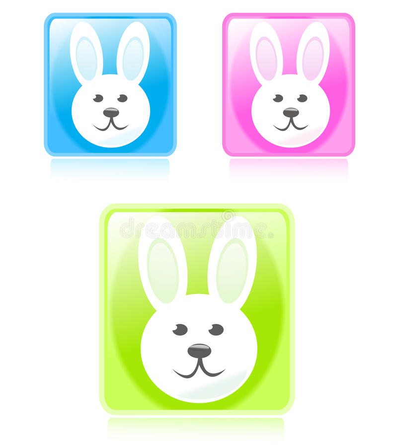Glossy bunny buttons stock photography