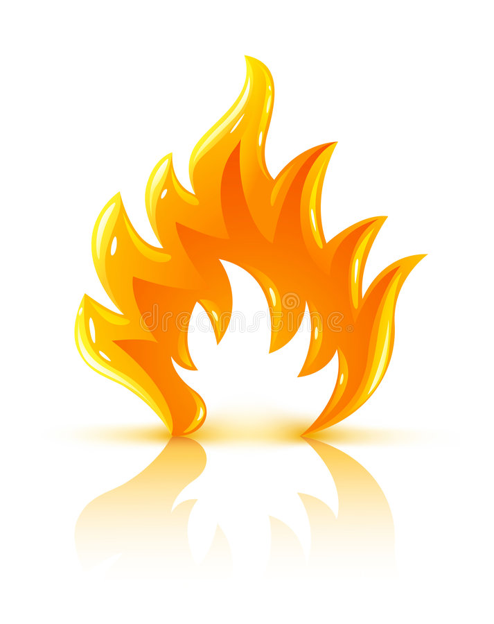 Glossy burning fire flame icon royalty free illustration