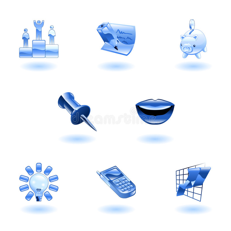 Glossy Business and Office Icon Set stock illustration