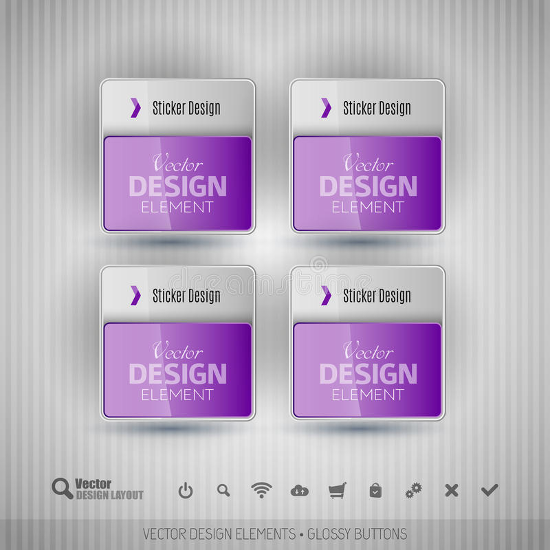 Glossy business stickers. Vector design elements for infographics. Glossy business stickers on the gray background. Vector design elements for infographics stock illustration