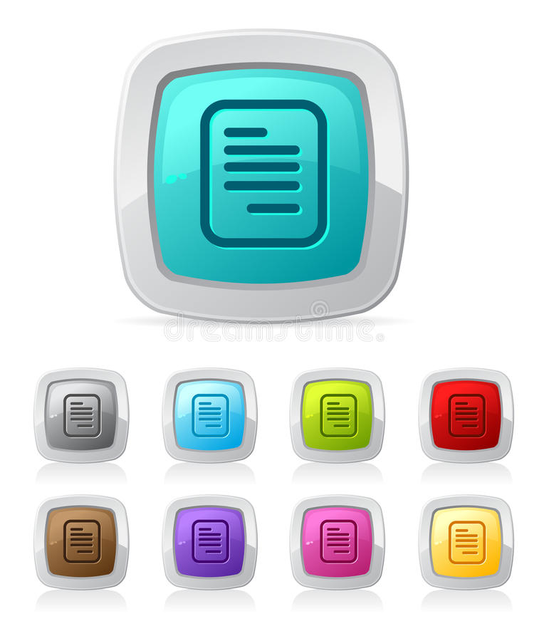 Glossy button - document vector illustration