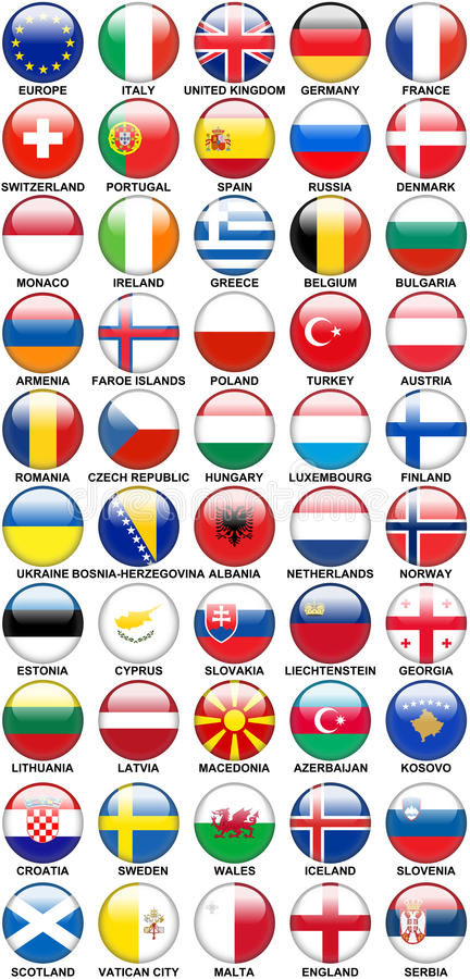 Glossy Buttons European Countries Flags stock illustration