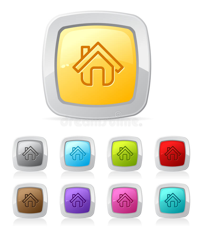 Glossy button - house vector illustration