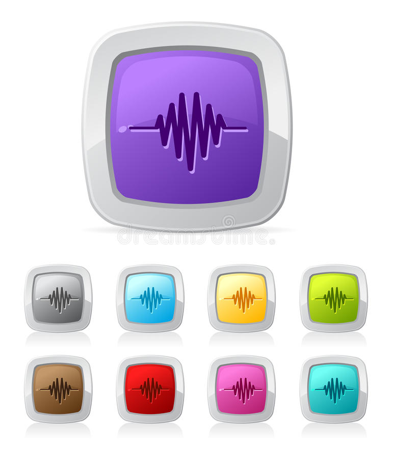 Glossy button - sound wave royalty free illustration