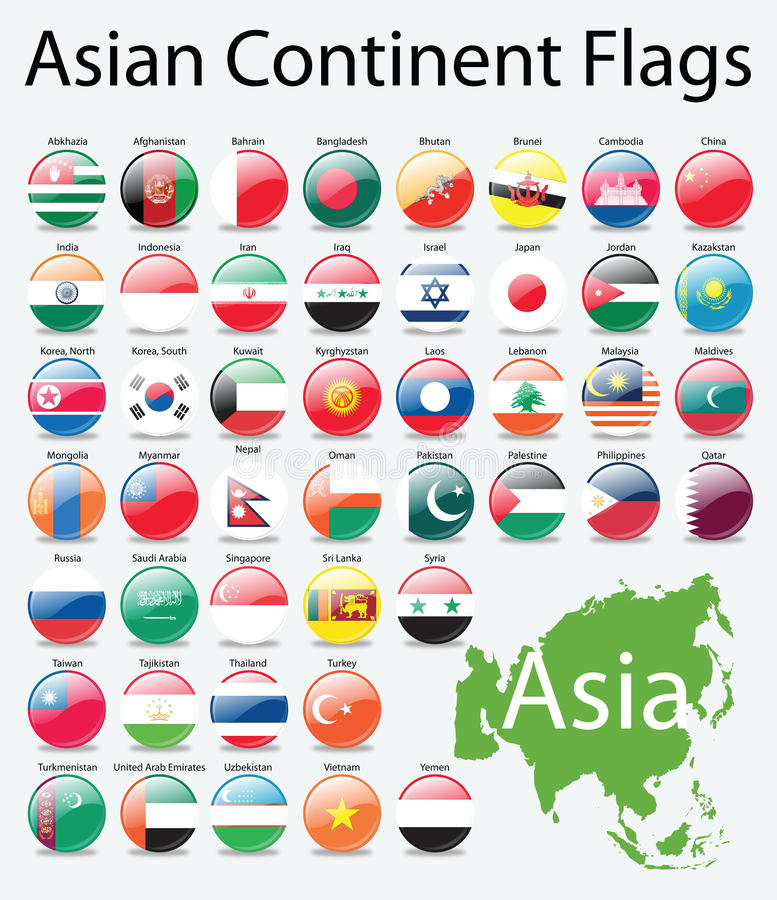 Glossy buttons flags of Asian Continent