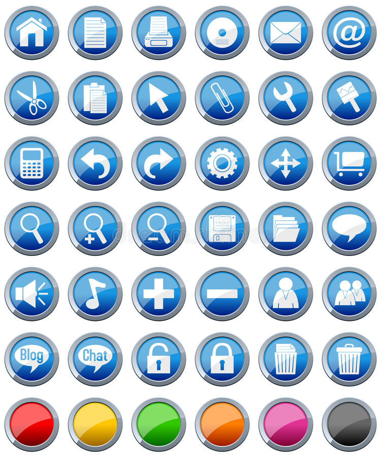 Glossy Buttons Icons Set [1]. Collection of 36 glossy round metal buttons in seven different color options with web icons, isolated on white background. Eps file