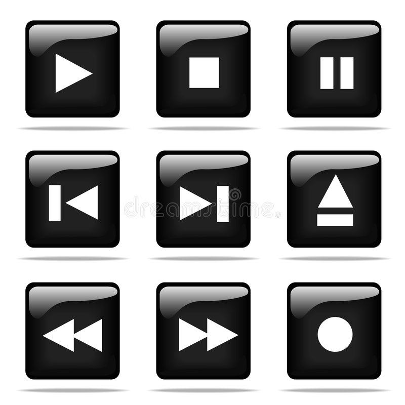 Download Glossy Buttons With Icons Set Stock Vector - Image: 5642611