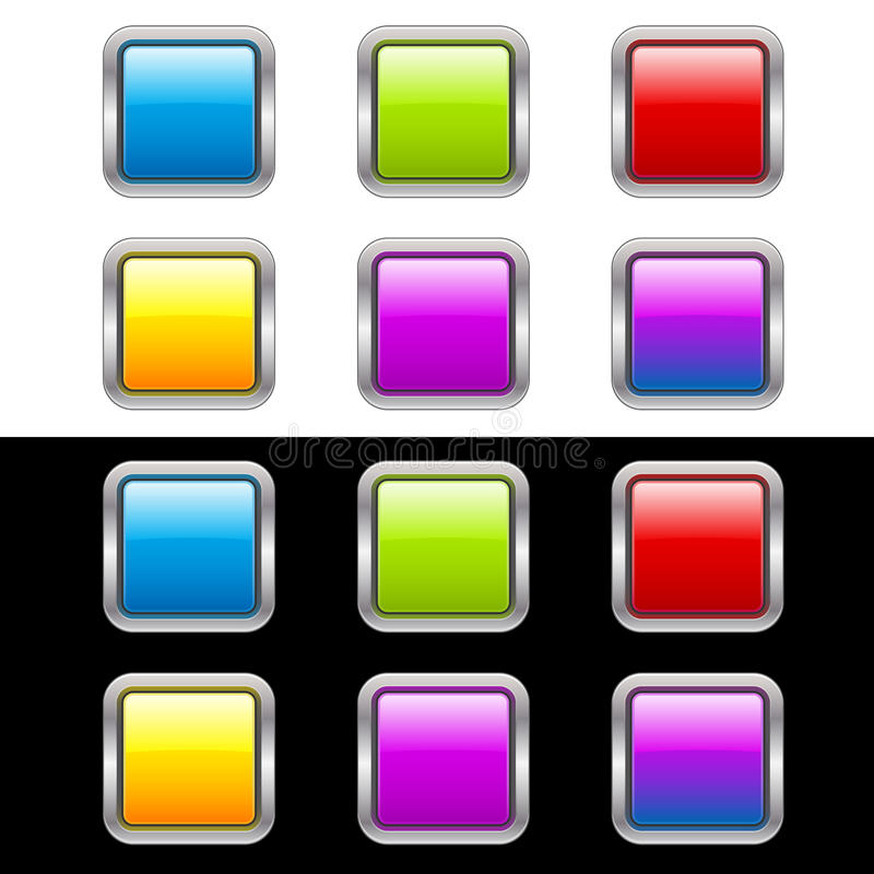 Glossy Buttons With Metallic Frame vector illustration