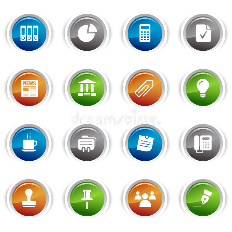 Download Glossy Buttons - Office And Business Icons Stock Vector - Image: 19838641