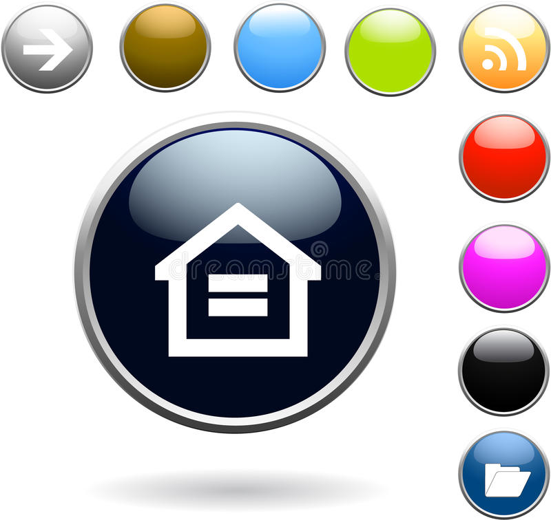 Download Glossy buttons set stock illustration. Image of document - 13933224