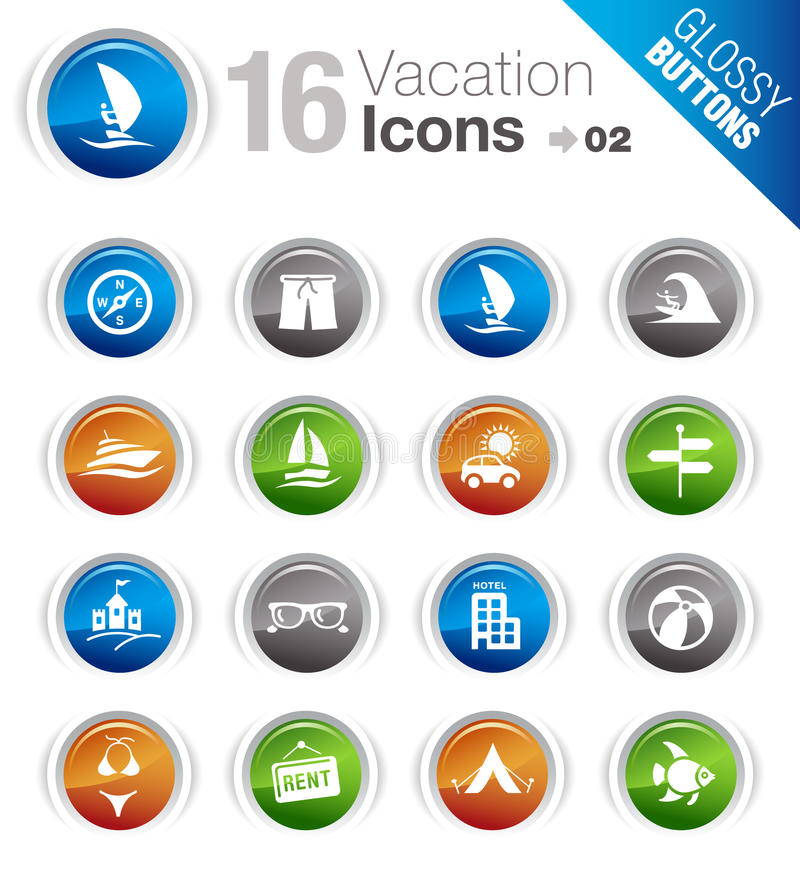 Download Glossy Buttons - Vacation Icons Stock Vector - Illustration: 23190513