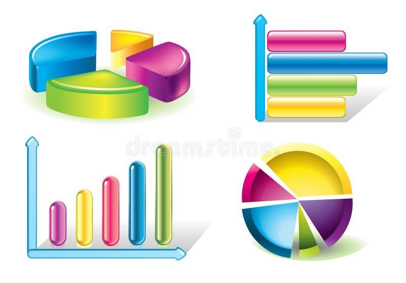 Glossy charts stock illustration