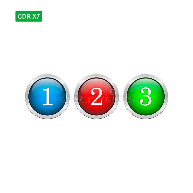 Glossy chrome button numbers vector isolated stock illustration