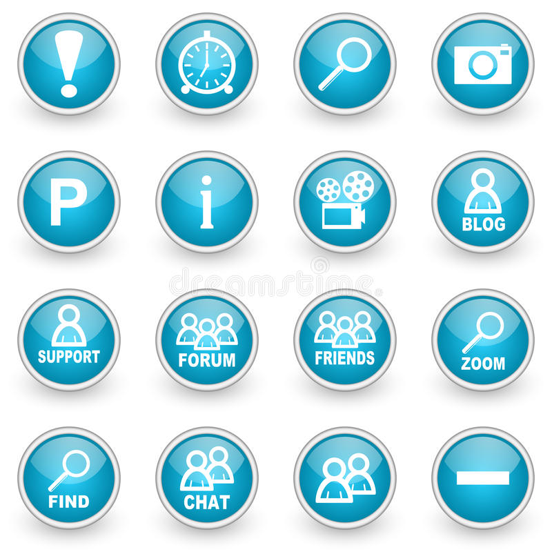 Glossy circle web icons set stock illustration