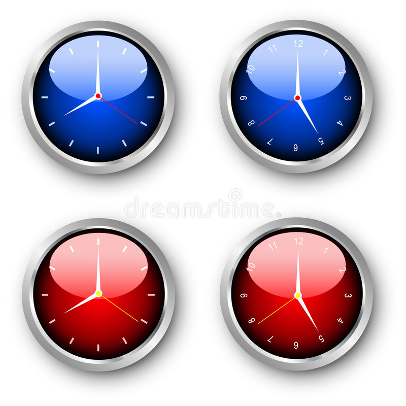 Glossy clocks. Various coloured glossy style clocks vector illustration