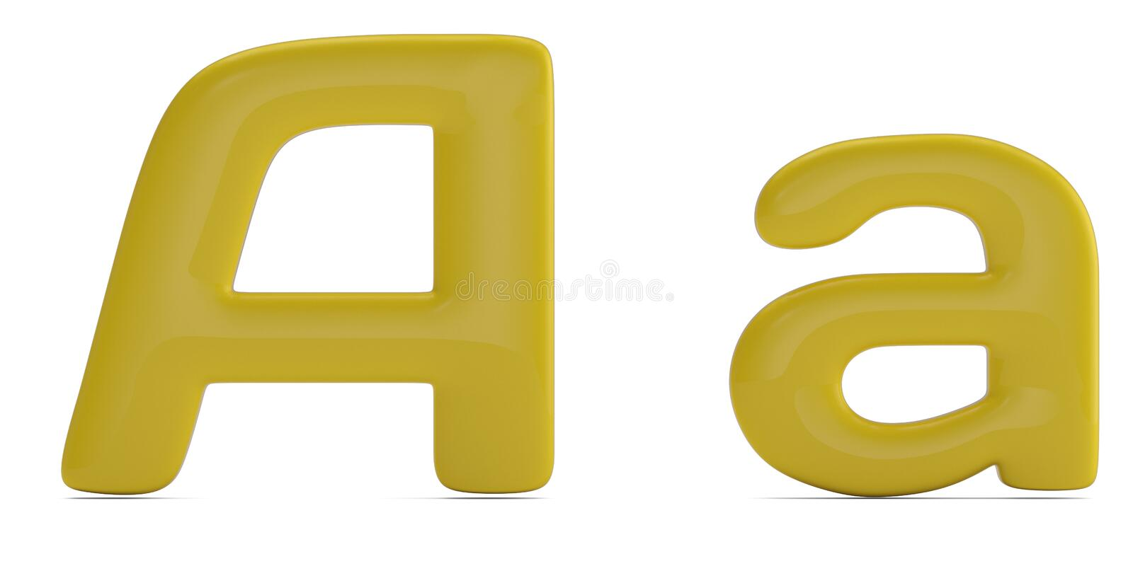 Glossy color solid alphabet letter a isolated on white background. 3D illustration vector illustration